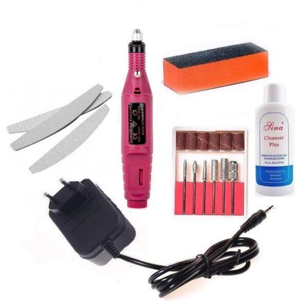 Kit Unghii,Freza electrica pentru unghii cu 6 capete pentru pila si 6 rezerve smirghel,Buffer,Acetona si 3 Pile semiluna