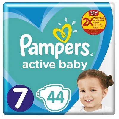 Pampers Active Baby Scutece Giant Pack, Nr.7,15 kg,44 buc Teox