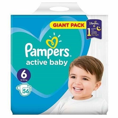 Pampers Active Baby Scutece Giant Pack,Nr.,13-18 kg,56 buc Teox