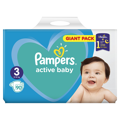 Pampers Active Baby Scutece Giant Pack,Nr.3,6-10kg ,90 buc Teox