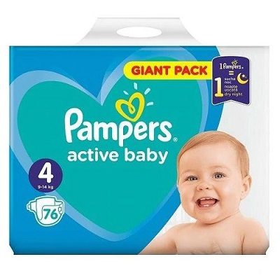 Pampers Active Baby Scutece Giant Pack,Nr.4,9-14 kg,43 buc