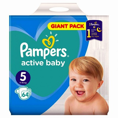Pampers Active Baby Scutece Giant Pack,Nr.5,11-18 kg,64 buc Teox